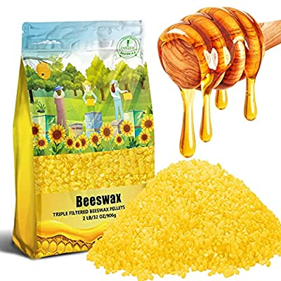 906g Yellow Organic Natural Beeswax Pellets - CARGEN 100% Beeswax Pastilles Pure Bulk Bees Wax Pellets Food Grade for DIY Beewax Making Candles Skin Care Lip Balm Soap Lotion
