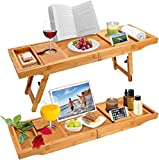 Widousy Luxury Bamboo Bathtub Caddy Bath Tub Tray Bridge Shower Shelves Organizer Tray with Stand Foot Extending Sides Built in Book Tablet Integrated Wineglass Holder Phone Tray & Accessories Placem