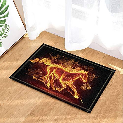 SRJ2018 Schwarzer Hintergrund mit roter, brennender Flamme umgeben von 1 Pferd Superabsorbierend, Rutschfeste Matte oder Fußmatte, weich und bequem