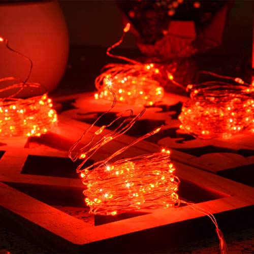 Chasgo Battery Operated Red Christmas Lights Mini, 4 Packs 16.4Ft 50 LED Red LED Mini String Lights, Twinkling Copper Christmas Fairy Lights for Christmas, Halloween, Wedding, Bedroom, Red