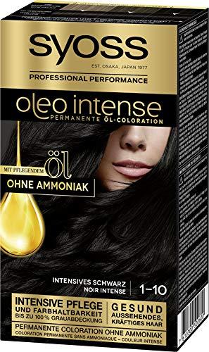 Syoss Oleo Intense Permanente Öl-Coloration, Intensives Schwarz: 3er Pack