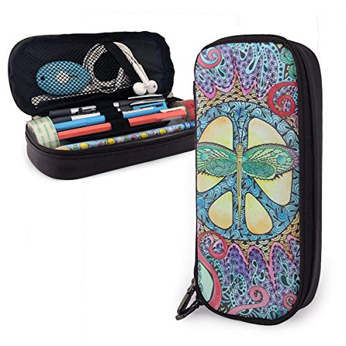 Psychedelic Wings Singleton Hippie Art Portable Pencil Case Cute Leather Pen Bag Desk Stationery Organizer with Zipper Large Capacity Pen Holder for School Boys Girls Office