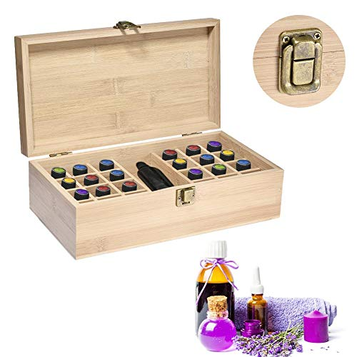 Yester Bamboo Storage Box for Essential Oil Aromatherapy - Wooden Box for 25 Bottles (5-15 ML) - for Home and Travel Storage