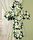Cross For My Fellow - Flowers For Funeral - Funeral Flower Arrangements - Funeral Plants - Same Day Funeral Flowers - Condolence Flowers