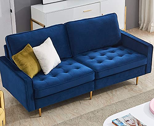 Velvet Fabric Sofa 71 inches Wide Modern Velvet Fabric Solid Color Sofa Living Room Sofa with 2 Pillows (Blue)