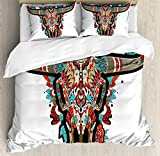 Ambesonne Western Duvet Cover Set, Buffalo Sugar Mexican Skull Colorful Ornate Design Horned Animal Trophy, Decorative 3 Piece Bedding Set with 2 Pillow Shams, King Size, Turquoise Orange