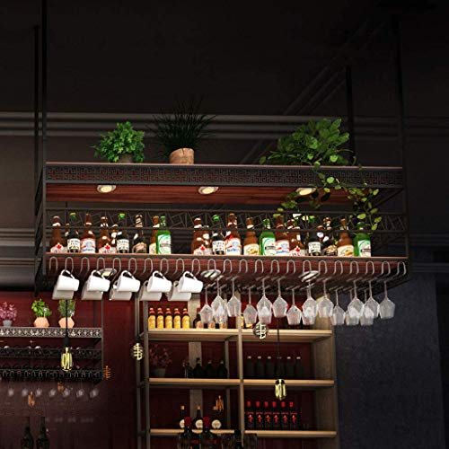 KELITINAus Industrial 2-Tier Wine Racks Adjustable Height Ceiling-Style Vintage Wine Bottle Holder Stemware Holder to Hang Cocktail or Champagne Flutes for Kitchen, Bar, Pubs or Restaurants Rack,80Cm