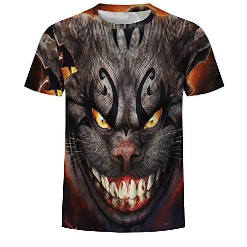 Ywfzzxs Camiseta Tops 3D Camisetas De Moda Undershirt Manga Corta Unisex Novedad Disfraz HD Anime Impresión Gato De Cheshire