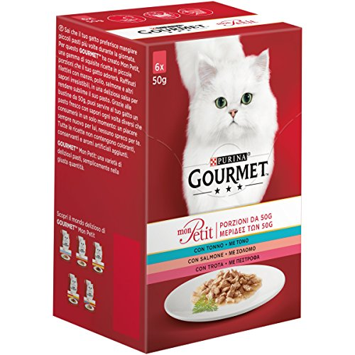 PURINA GOURMET MON PETIT Umido Gatto Invitanti Ricette con Tonno, Salmone e Trota - 48 buste da 50g ciascuna (8 confezioni da 6x50g)
