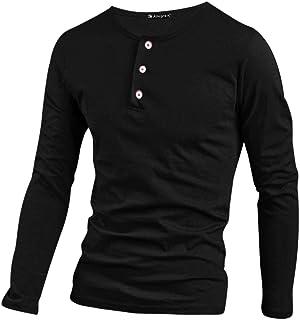 POQOQ T Shirts Polo Tops Blouse Mens Casual Slim Fit Basic Henley Short Sleeve T-Shirt Mens Fashion Casual Front Placket Basic Short Sleeve Henley T-Shirts XS Black