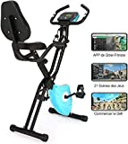 Profun Vélo d'Appartement Pliable Vélo de Fitness 10 Niveaux de Résistance Magnétique& Siège Large et Confortable,...
