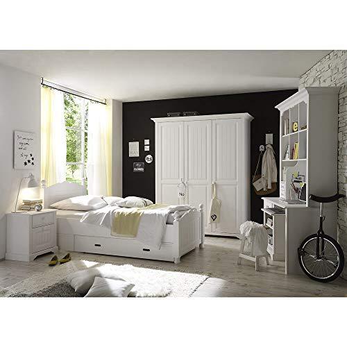 Lomadox Landhaus Jugendzimmer Set, aus Massivholz, weiß lackiert, 4-teilig, mit PC-Schreibtisch, Bett 90x200cm und Kleiderschrank 3türig
