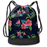 zhangyuB Men & Women Premium Polyester Sac de Cordon Hawaiian State Flower Pattern Print Rucksack Theft Proof Lightweight for Traveling Soccer Baseball Bag Large for Camping, Yoga Runner
