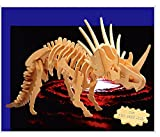 Puzzled 3D Puzzle Big Styracosaurus Wood Craft Construction Model Kit Educational DIY Wooden Dinosaur Toy Assemble Model Unfinished Crafting Hobby Puzzle to Build & Paint for Decoration 41pcs Pack