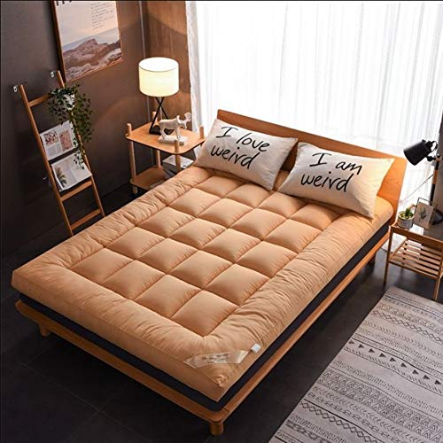 XUELIAIKEE Thick Tatami Mattress Topper, Breathable Japanese Floor Futon Mattress Pad,Foldable Tatami Floor Mat Quilted Soft Sleeping Pad Mattress-Light Tan King
