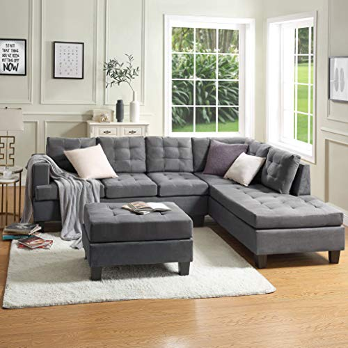 Sectional Sofa 3-seat Sofa Couches with Chaise Lounge and Storage Ottoman for Living Room Furniture Sofas Sets
