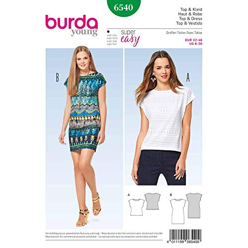 Burda 6540 Schnittmuster Ärmeloses Top und Kleid (Damen, Gr. 34-46) Level 1 super Easy