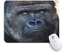 ECOMAOMI 可愛いマウスパッド シルバーバックゴリラ男性の顔の肖像画 滑り止めゴムバッキングマウスパッドノートブックコンピュータマウスマット