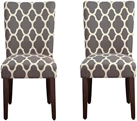Best HomePop Parsons Classic Upholstered Accent Dining Chair, Set of 2, Grey and Cream Geometric