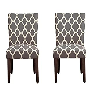 HomePop Parsons Classic Upholstered Accent Dining Chair, Set of 2, Grey and Cream Geometric (B071XYMXC3) | Amazon price tracker / tracking, Amazon price history charts, Amazon price watches, Amazon price drop alerts