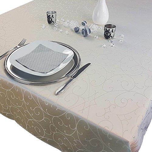 PROHEIM Premium Tischdecke 150 x 250 cm Elegante Tafeldecke mit edlen Ornamenten Tafeltuch mit Rankenmuster schmal gesäumtes Tischtuch, Farbe:Ecru