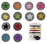 XPOOS 12 Piezas Parches Ropa Estrella Patch Sticker DIY Coser o Planchar en Los Apliques para Camiseta Jeans Sombrero Pantalon Bolsas