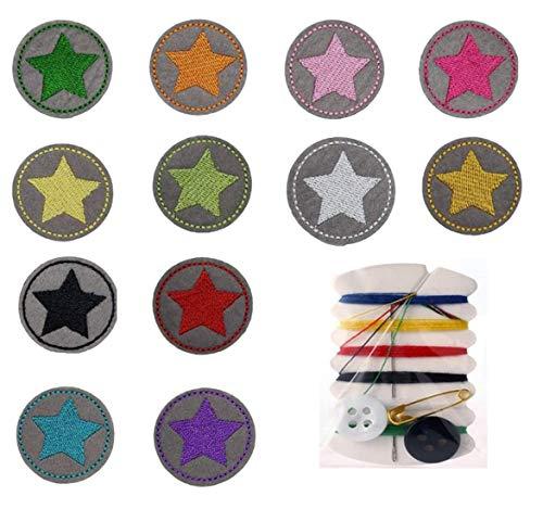 XPOOS 12 Stück Aufbügelflicken Kinder, Flicken Patches für DIY zum Aufbügeln Applikation Flicken Zum Aufbügeln Patch Sticker Jeans Kleidung Patches, Aufbügelflicken Kinder Sterne