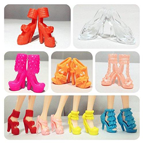 elegantstunning 10 Paar Schuhe Spielzeug High Heel Schuhe Stiefel...