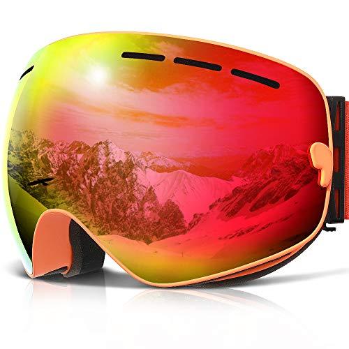 COPOZZ G1Ski-/Snowboardbrille, beschlagfrei, UV-Schutz, Helm-kompatibel, auswechselbare Gläser, Orange Frame/Red lens (VLT 20.5%)
