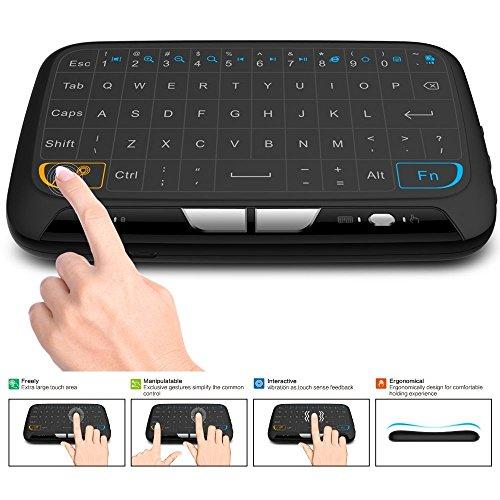 ACEMAX teclado inalámbrico y ratón táctil Combo, 2.4GHz Mini teclado con Panel táctil completo Mouse remoto para Android TV Box, HTPC, IPTV, PC, portátil, PS3, Xbox 360, Smart TV y más