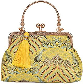 TOOGOO Retro Su Haiya Wind Cloth Bag Temperament Elegant Tassel Cheongsam Bag Gold Banquet Bag Portable Diagonal Package Yellow