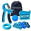 IMENSEAS Hand Grip Strengthener 7 Pack Adjustable Hand Gripper, Finger Stretcher Resistance Extensor Bands, Finger Exerciser, Grip Strength Ring & Stress Relief Ball for Athletes & Musicians - Blue