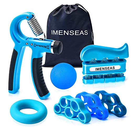 IMENSEAS Hand Grip Strengthener 7 Pack Adjustable Hand Gripper, Finger Stretcher Resistance Extensor Bands, Finger Exerciser, Grip Strength Ring & Stress Relief Ball for Athletes & Musicians - Blue