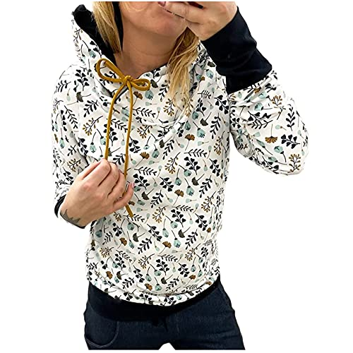 Women's Fashion Floral Hoodies Loose Casual Long Sleeve Round Neck Splicing Sweatshirt Trendy Plus Size Workout Pullover Green