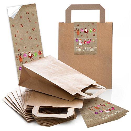 25 kleine braune Geschenktüte Weihnachtstüte Papiertüte 18 x 8 x 22 cm kleine Papiertaschen + 25 Aufkleber FROHE WEIHNACHTEN pink rot natur Verpackung Geschenke give-away