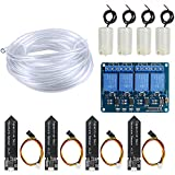 WayinTop Irrigazione Automatico Kit Fai da Te Sistema per Arduino, 4 Canale 5V Relè Modulo + 4pcs Sensore di Misurazione umidità del Suolo + 4pcs Mini Acqua Pompa Sommergibile + 4M Tubo Flessibile