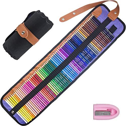 Riyanon Set di 72 matite colorate matite colorate con astuccio arrotolabile portatile in...
