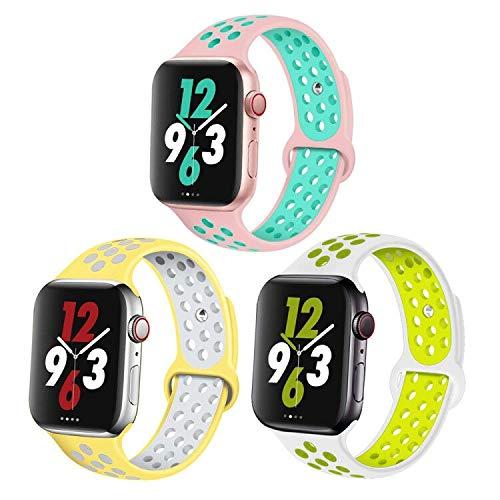 Correa de Reloj 38mm (Series 4 40mm) 42mm (Series 4 44mm) Doble Color Pulsera de Repuesto de Silicona Suave Transpirable Correa para Watch Series 5/4/3/2/1