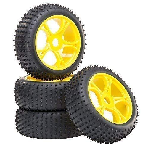 Buggy Reifen Felgenset REX-X mit 5-Doppelspeichenfelge gelb 1:8 partCore 320017