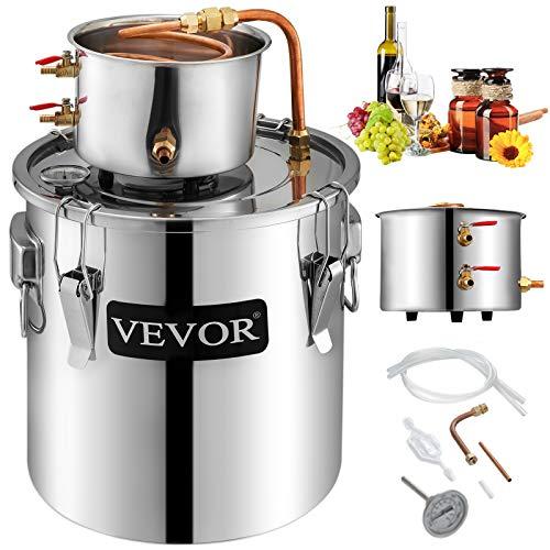 KITGARN - Destilador de agua de acero inoxidable para alcohol casero, tubo de cobre, kit para destilación casera con termómetro integrado para elaborar whisky, vino o brandy caseros, color plateado