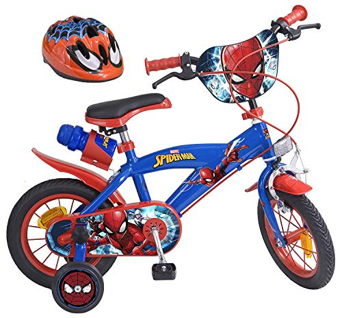Marvel Ultimate Spider-Man Kinderfahrrad 12 Zoll + Fahrradhelm Gr. 51-55 cm | Trommelbremse Trinkflasche