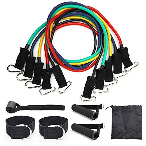 Huyan 11 - Conjunto de cuerda de tiro de resistencia elástica, cuerda de yoga, ejercicio, fitness, tensionador de cinturón