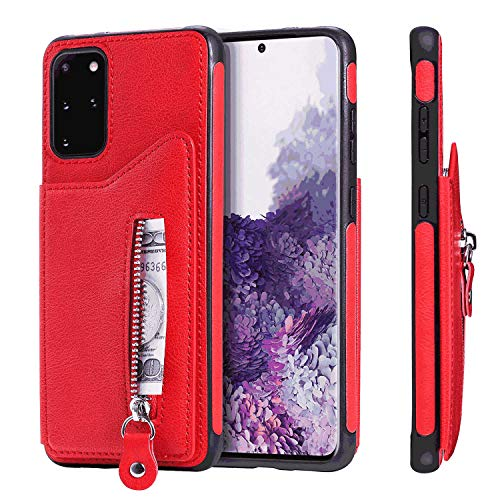 Leather Flip Case Fit for Samsung Galaxy Note 10 plus, Extra-Shockproof Card Holders Kickstand red Wallet Cover for Samsung Galaxy Note 10 plus