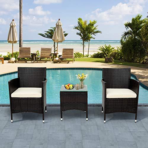 belupai Juego de muebles de jardín de polirratán para 2 personas, 1 mesa y 2 sillones, resistente a la intemperie, para jardín, balcón y terraza, incluye cojines de asiento marrón