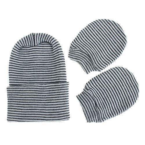 Njuyd - Juego de gorro y guantes para bebé, 2 unidades, antiarañazos, guantes de algodón suave, guantes de doble capa, protección contra arañazos, guantes calientes, suministros para recién nacidos