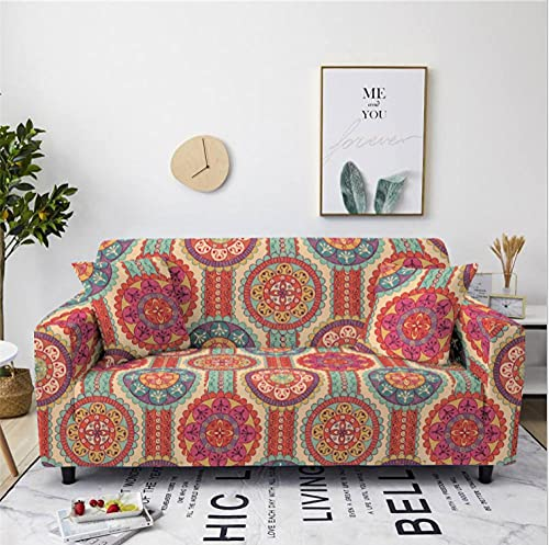 Stretch Sofa Cover Round Bohemian Style 3 Seater Printing All-Inclusive Couch Cover Elastic Polyester Spandex Sofa Covers Universal Urniture Protective Decorative Slipcovers
