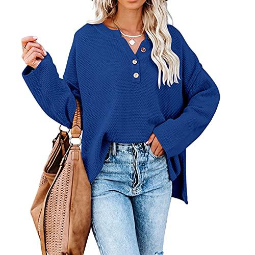 Donne Scollo A V Pulsante Giù Maglia Maglione Manica Lunga Tinta Unita Cardigan Maglione Di Base Leggero Outwear, Blu, XL