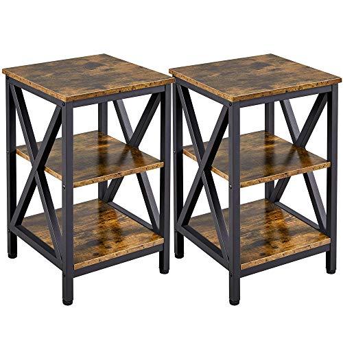 Yaheetech Set 2 Tavolino da Salotto Comodini a 3 Ripiani Camera da Letto Struttura in Metallo Tavolini Laterali Vintage Industriali Rustico da Divano Ufficio Soggiorno Montaggio Facile