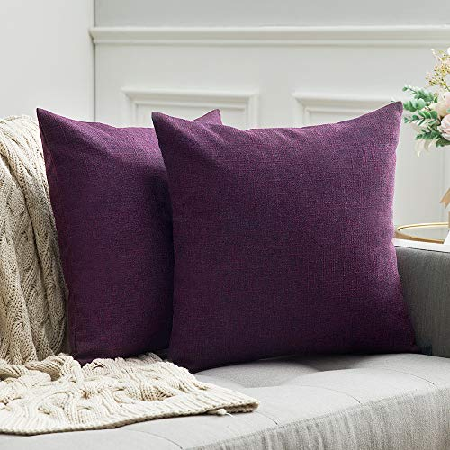 MIULEE 2er Pack Leinenoptik Home Dekorative Kissenbezug Kissenhülle Kissenbezug für Sofa Schlafzimmer mit Reißverschlüsse 50x50 cm Lila