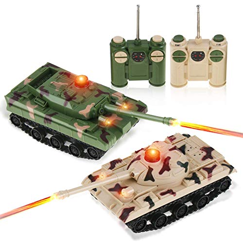 Liberty Imports RC Fighting Battle Tanks - Set of 2 Abrams Remote Control Battling Tank Toys for Kids